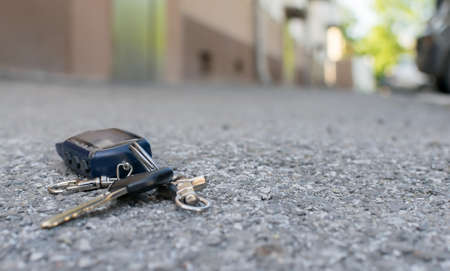 lost key chain on the road