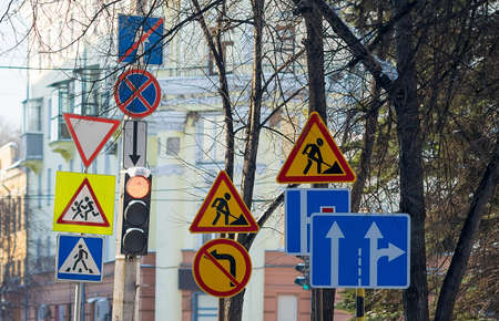 a large number of road signs