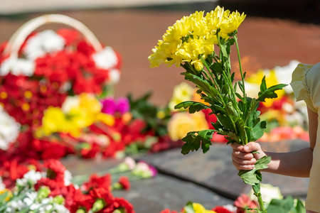 people lay flowers to the eternal flame at the memorial of memory Фото со стока