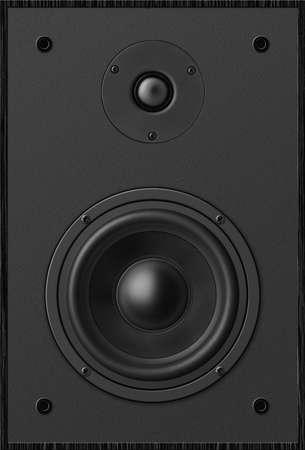 sound speaker: Stereo music audio equipment bass sound speaker, black sound speaker