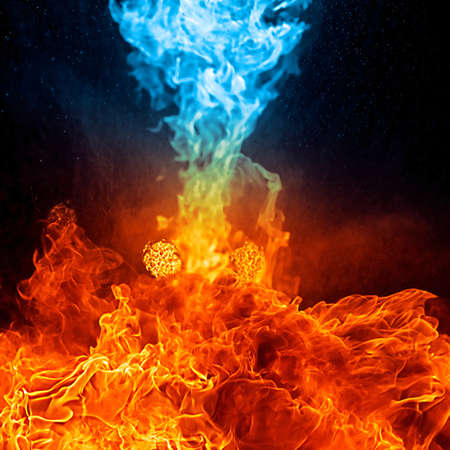 dynamic heat black: Red and blue fire on balck background