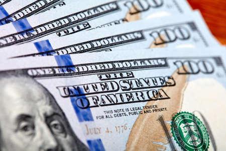 Dollars Closeup Concept. American Dollars Cash Money. One Hundred Dollar Banknotes.. Banco de Imagens