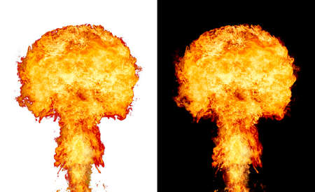 Explosion - fire mushroom. Mushroom cloud fireball from an explosion. Symbol of environmental protection and the dangers of nuclear energy Banque d'images