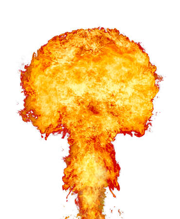 Explosion - fire mushroom. Mushroom cloud fireball from an explosion. Nuclear explosion. Symbol of environmental protection and the dangers of nuclear energy.