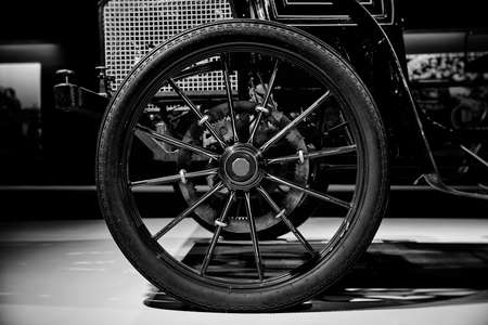 Wheel of vintage car with a gear drive- Classic Car.