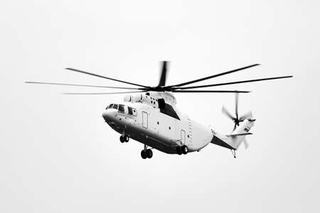 Transport helicopter Mi-26 TC in flight. (on the codification of NATO: Halo) is a heavy multipurpose transport helicopter. 12.12.2018, Rostov Region, Russia