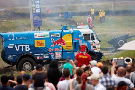 Truck Kamaz of the Kamaz-Master racing team. demonstration race. BIZON Truck Show. ROSTOV-ON-DON, RUSSIA - 20.05.2018