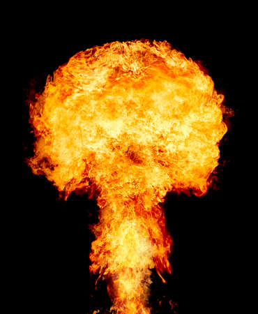 Explosion - fire mushroom. Mushroom cloud fireball from an explosion. Nuclear explosion. Symbol of environmental protection and the dangers of nuclear energy