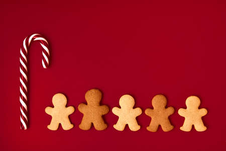 Gingerbread man Christmas background. background with sweets.