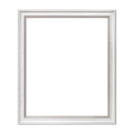 Quadro bianco in stile antico. Cornice d'epoca isolata su sfondo bianco.