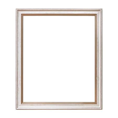 Białe ramy w stylu antycznym. Ramka na zdjęcia archiwalne na białym tle.