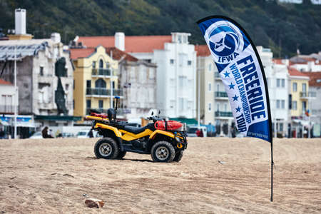 Security provision at the IFWA World Tour Jet Ski Championship. Freeride World Championship IFWA. 27.04.2018, Nazare, Portugal