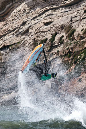 Professional jet ski riders compete at the IFWA World Tour Jet Ski Championship. Contestants perform tricks for judges in the waves. Freeride World Championship IFWA. 27.04.2018, Nazare, Portugal Banque d'images - 139965205