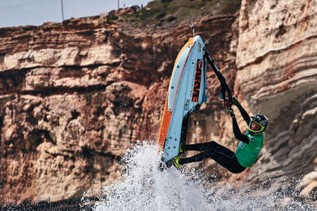 Professional jet ski riders compete at the IFWA World Tour Jet Ski Championship. Contestants perform tricks for judges in the waves. Freeride World Championship IFWA. 27.04.2018, Nazare, Portugal Banque d'images - 139965215