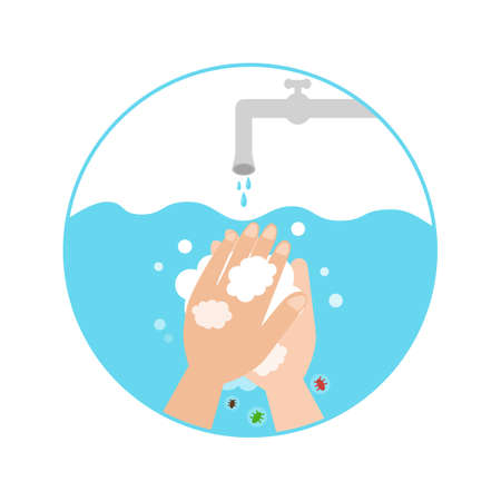 Washing hands with soap icon Vectores