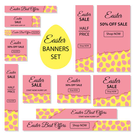 Easter Sale. Collection of Easter banners for websites with eggs on a pink background with black. Most common AdWords ad sizes.