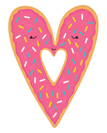 Vector illustration of cute pink cartoon donut in a heart shape, can be used for valentine s day greeting cards, party invitations, posters, prints.
