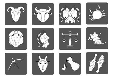 Set of black and white Zodiac signs on a dark background. Square icons. Vector illustration. Ilustração