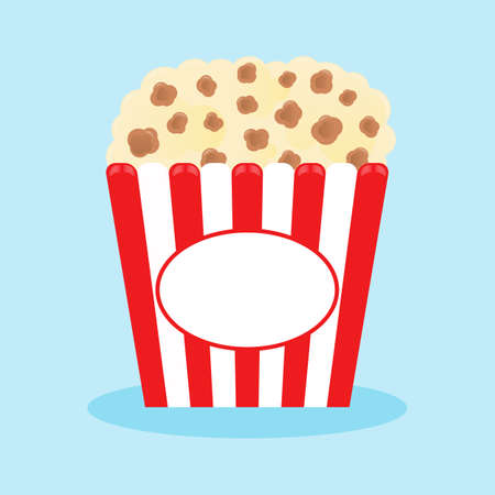 Popcorn popping in a red striped box. Cinema movie night icon in flat design style. Vector illustration