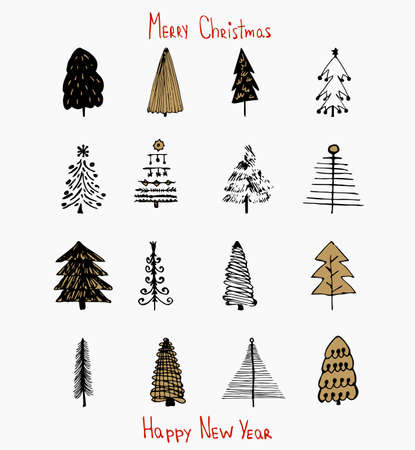 Set of hand drawn of Christmas trees. Holidays background. Abstract doodle drawing of fir trees. EPS 10