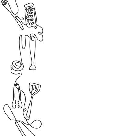 Fond d'art de ligne de coutellerie. Un dessin au trait de différents ustensiles de cuisine. Vecteur
