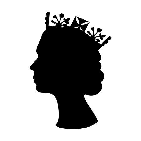 Black silhouette of Queen Elizabeth wearing the crown. Black and white illustration of the queen side view.