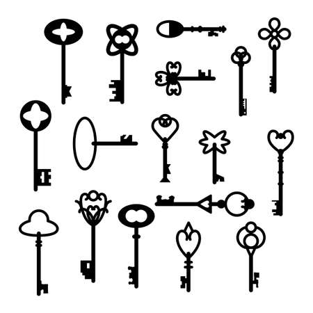 Retro vintage keys silhouettes vector set collection. Antique style keys, easy to edit.
