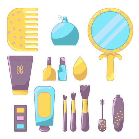 Set of colorful cosmetic elements and accessories