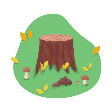 Vector stump surrounded with mushrooms and autumn leaves