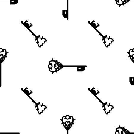 Vintage keys black and white vector seamless pattern. EPS 10 Çizim