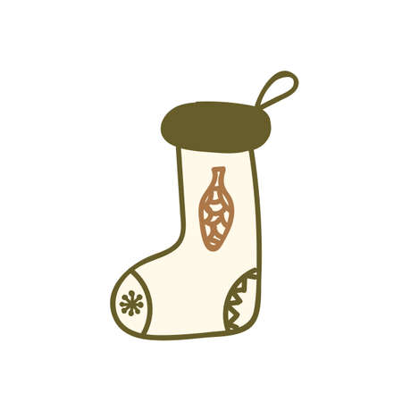 Christmas sock. Merry Xmas holiday hand drawn doodle sock with tree cone. Vector illustration