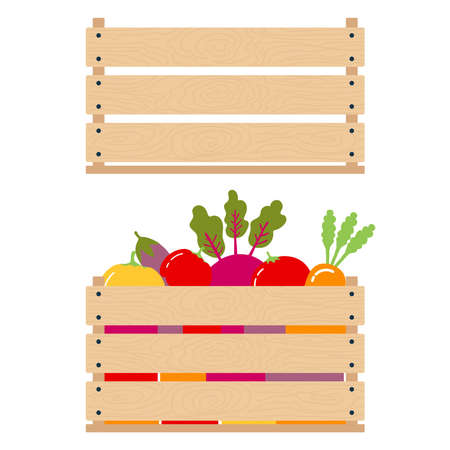 Concept of harvest. Vector illustration of comparing an empty wooden box with a full box of vegetables. Isolated object of fresh, natural foods. Organic products to buy in a supermarket