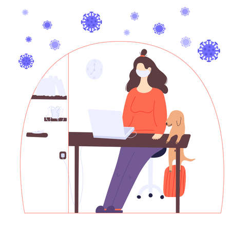 Stay home global concept. A woman is working at home on the laptop in a period of self isolation and social distancing during covid virus epidemic. The pet is very happy to spend time with the owners Ilustração