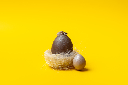 Easter, brown egg on yellow background. Decorated with feathers.  In the nest of sisal fibre. The minimum concept of Easter. Easter card with space for text. Top view