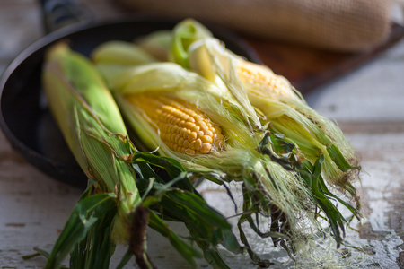 Raw corn cob on a light wooden background. On the burlap. Rustic style.  The concept of a picnic. Harvest. Side view