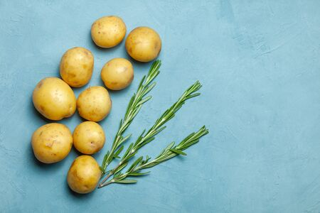 Raw potato tubers with rosemary on blue background Stock Photo