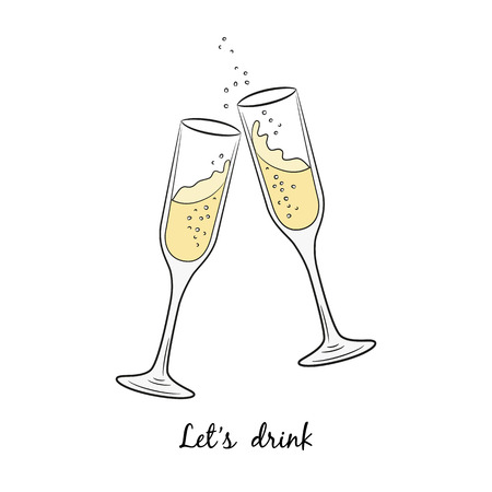 christmas drink: Two glasses of champagne for Merry Christmas and Happy New Year.