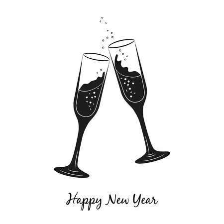 Two glasses of champagne for Merry Christmas and Happy New Year.