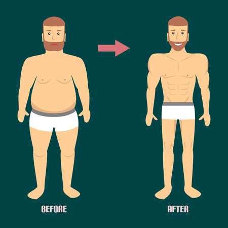 fatness: Changing lifestyle, concept of diet. Man before and after a diet and sport. Illustration