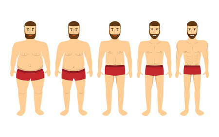 oversize: Changing lifestyle, concept of diet. Man before and after a diet and sport. Illustration