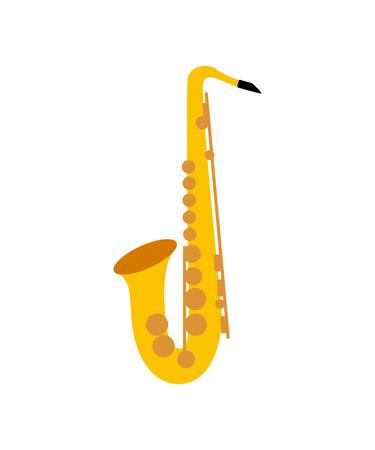 Schattenbild eines Saxophons auf dem weißen Hintergrund. Saxophon-Symbol. Standard-Bild - 68785122