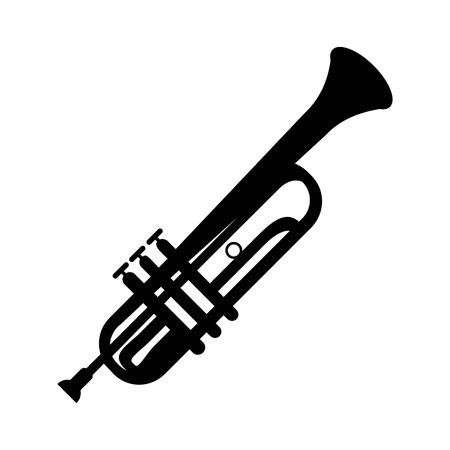 Icône de la trompette, isolée sur fond blanc. Icône d'instrument de musique.