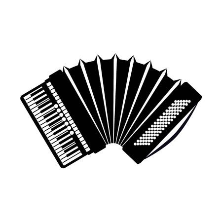 Icono de acordeón, aislado sobre fondo blanco. Icono de instrumento musical.
