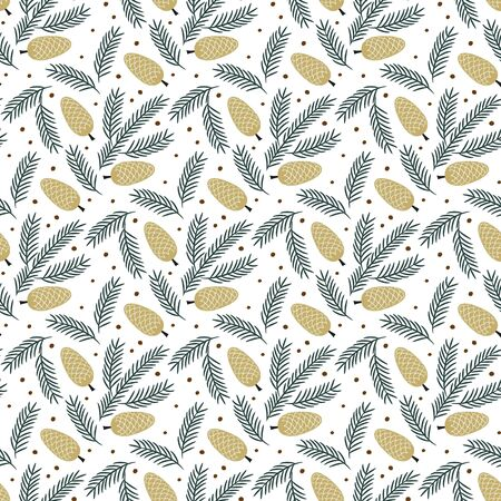 Christmas seamless pattern on the white background.