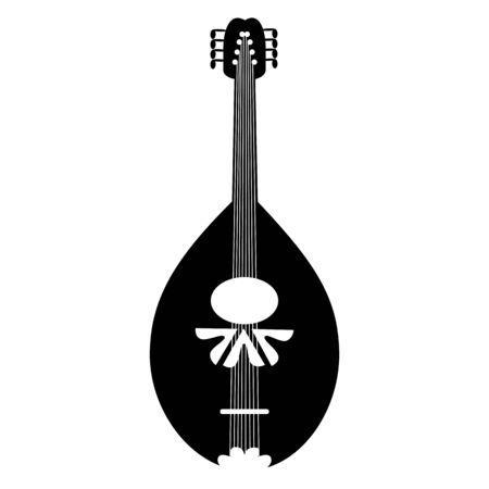 resonator: Mandolin black icon on the white background. Illustration