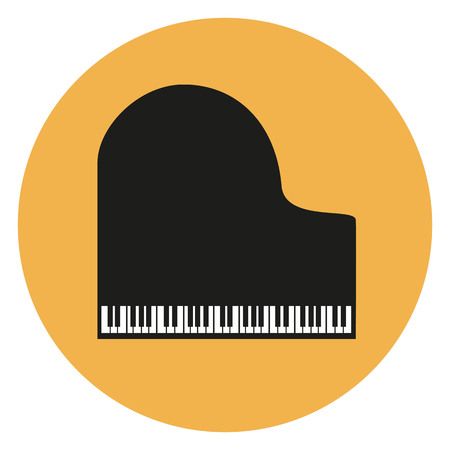 Piano black icon on the yellow background. Çizim