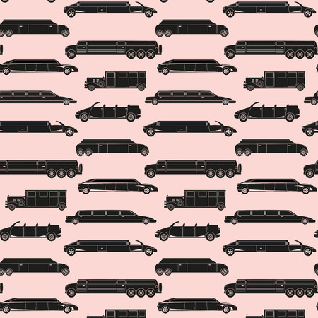 Seamless pattern with  black icon limousines. Ilustracja