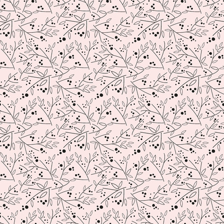 wed beauty: Seamless floral pattern with leaves and twigs. Elegant floral background.