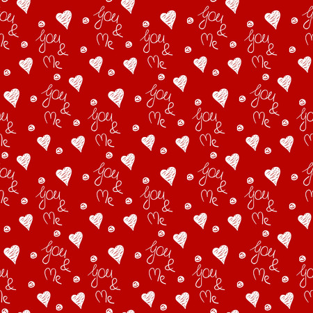 Seamless pattern with hearts and lettering You and me. Elegant background. Illustration