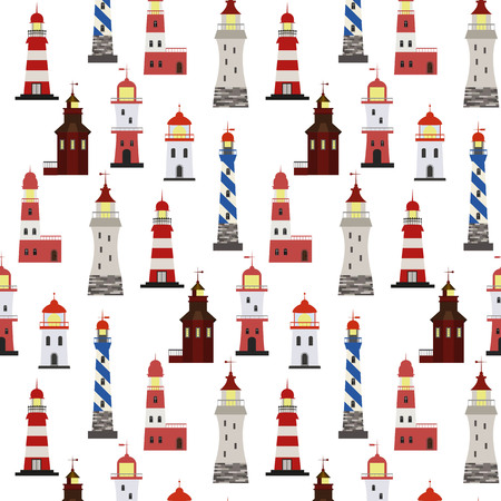 Seamless marine pattern with red, white and blue lighthouses on light background.